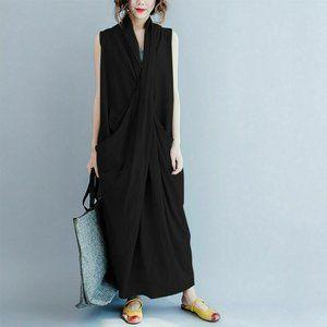 1X-3XL BLACK FLOWING ELEGANT RUCHED V-neck DRESS